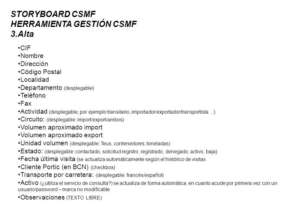 STORYBOARD CSMF HERRAMIENTA GESTIÓN CSMF 3.Alta CIF Nombre Dirección Código Postal Localidad Departamento (desplegable) Teléfono Fax Actividad (desplegable, por ejemplo transitario, importador/exportador/transportista...) Circuito: (desplegable: import/export/ambos) Volumen aproximado import Volumen aproximado export Unidad volumen (desplegable: Teus, contenedores, toneladas) Estado: (desplegable: contactado, solicitud registro, registrado, denegado, activo, baja) Fecha última visita (se actualiza automáticamente según el histórico de visitas Cliente Portic (en BCN) (checkbox) Transporte por carretera: (desplegable: francés/español) Activo (¿utiliza el servicio de consulta ) se actualiza de forma automática, en cuanto acude por primera vez con un usuario/password – marca no modificable Observaciones (TEXTO LIBRE)