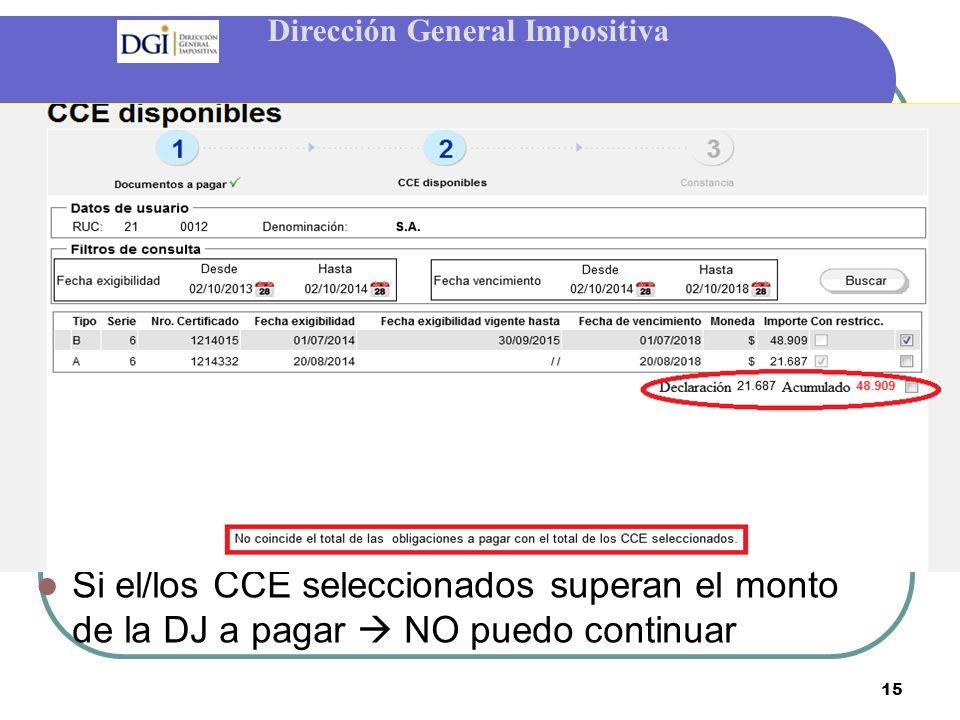 Dirección General Impositiva 15 Si el/los CCE seleccionados superan el monto de la DJ a pagar  NO puedo continuar