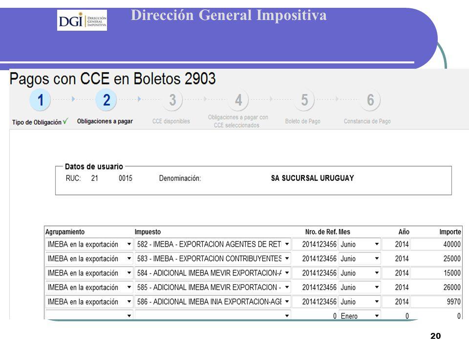 Dirección General Impositiva 20