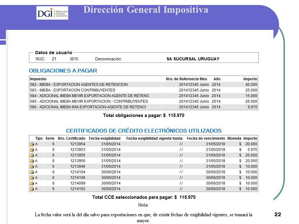 Dirección General Impositiva 22