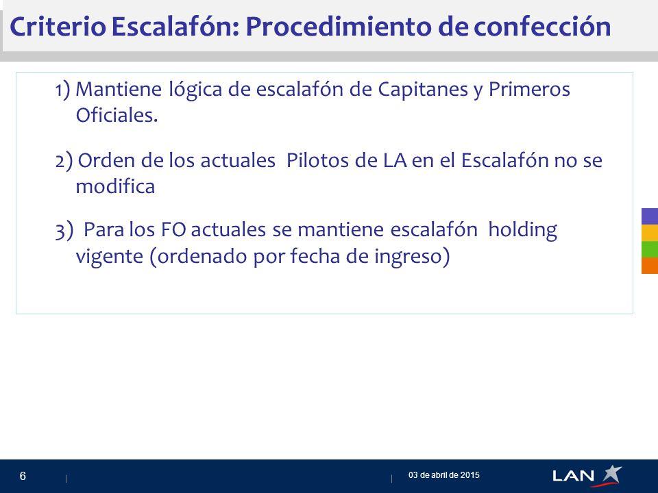 Criterio Escalafón: Procedimiento de confección 1) Mantiene lógica de escalafón de Capitanes y Primeros Oficiales.