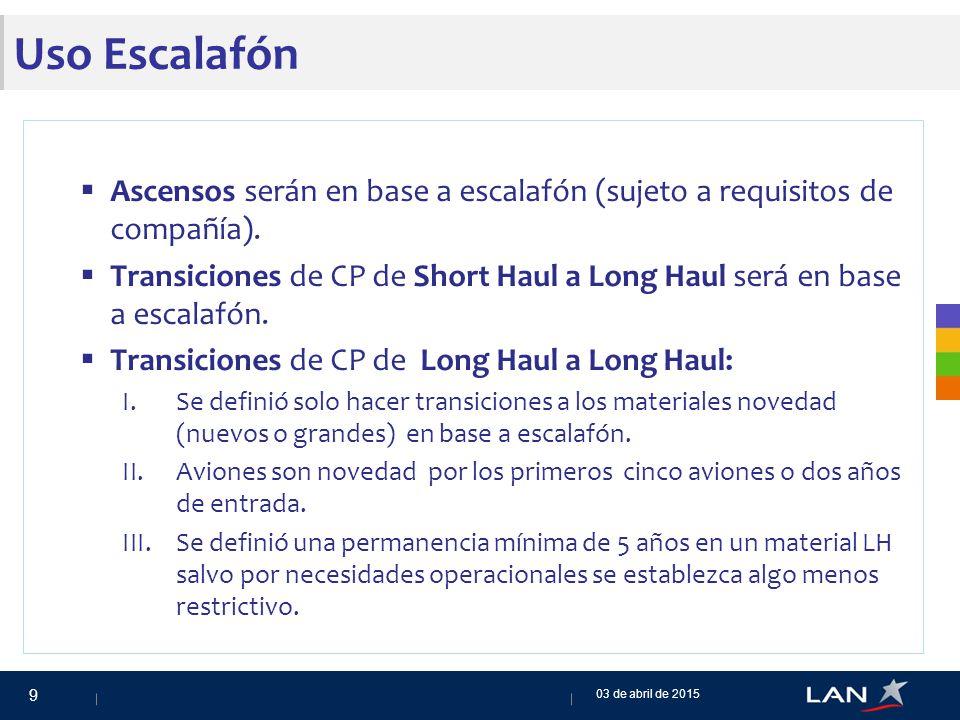 Uso Escalafón  Ascensos serán en base a escalafón (sujeto a requisitos de compañía).