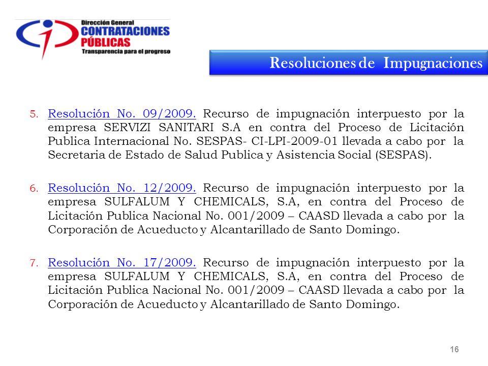 16 5. Resolución No. 09/2009.