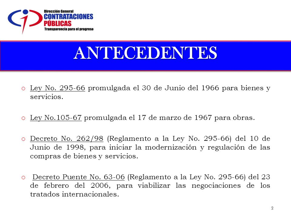 ANTECEDENTESANTECEDENTES o Ley No.