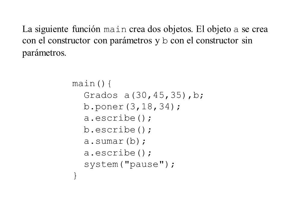 La siguiente función main crea dos objetos.