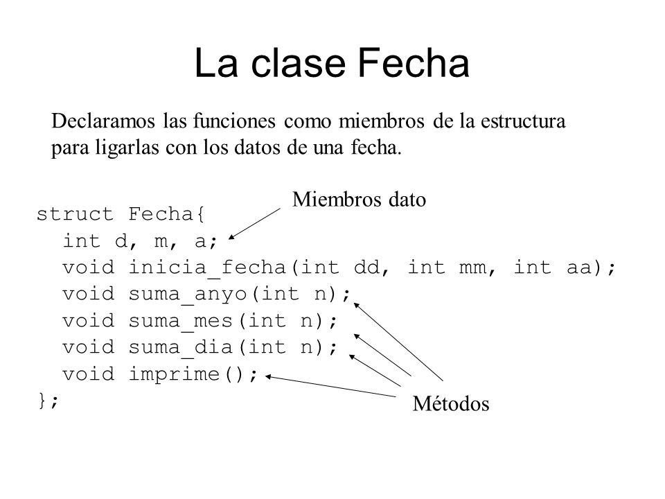 La clase Fecha Declaramos las funciones como miembros de la estructura para ligarlas con los datos de una fecha.