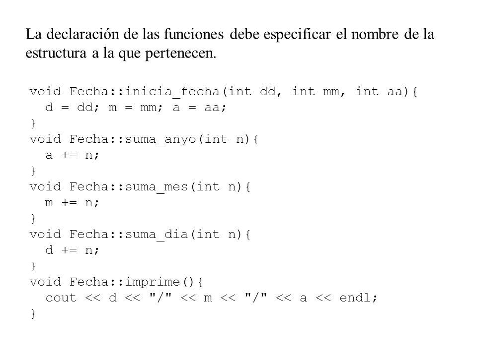 La declaración de las funciones debe especificar el nombre de la estructura a la que pertenecen.