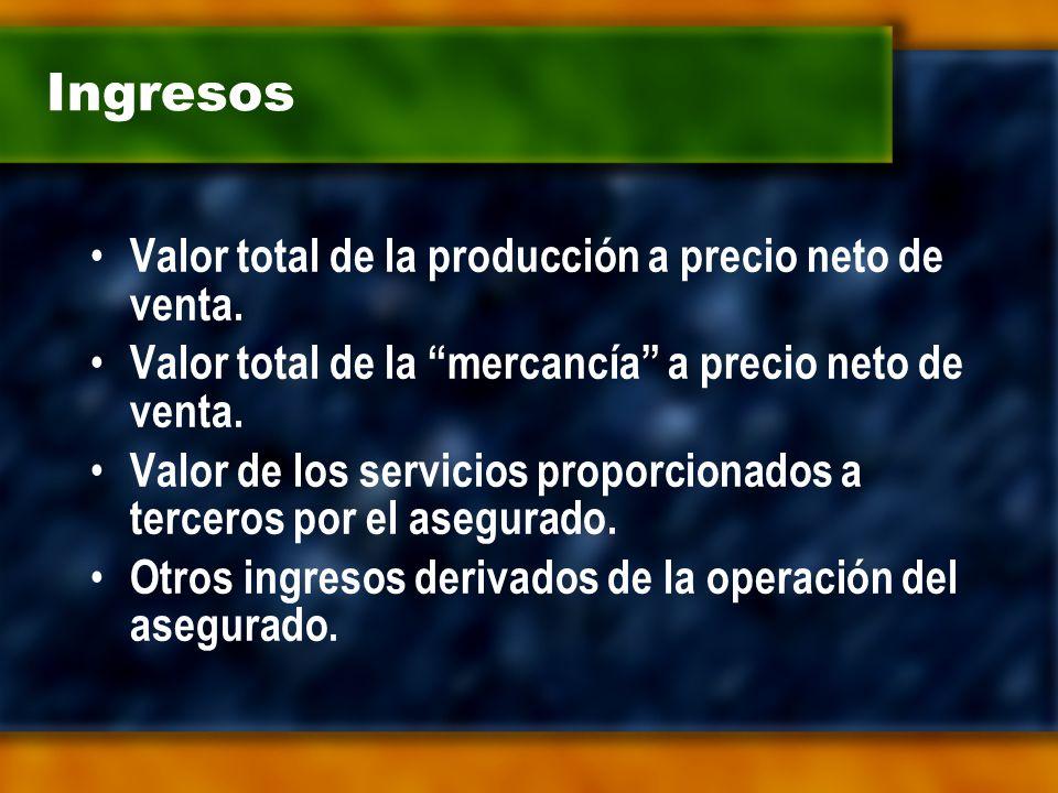 Ingresos Valor total de la producción a precio neto de venta.
