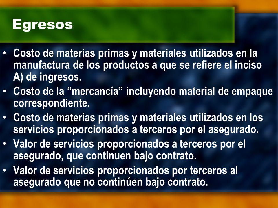 Egresos Costo de materias primas y materiales utilizados en la manufactura de los productos a que se refiere el inciso A) de ingresos.