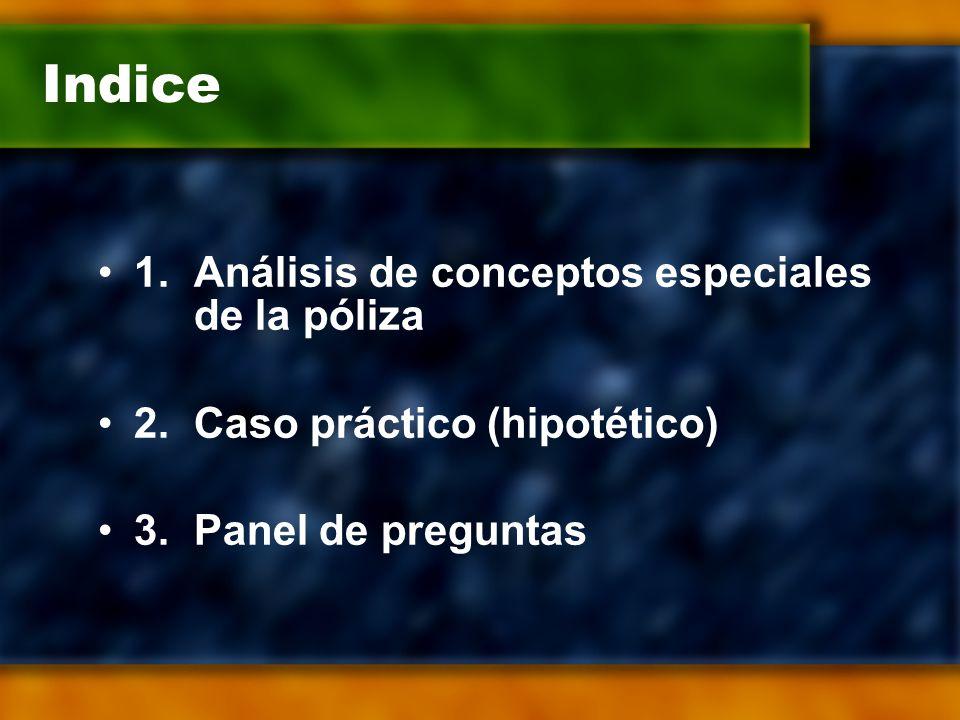 Indice 1.Análisis de conceptos especiales de la póliza 2.