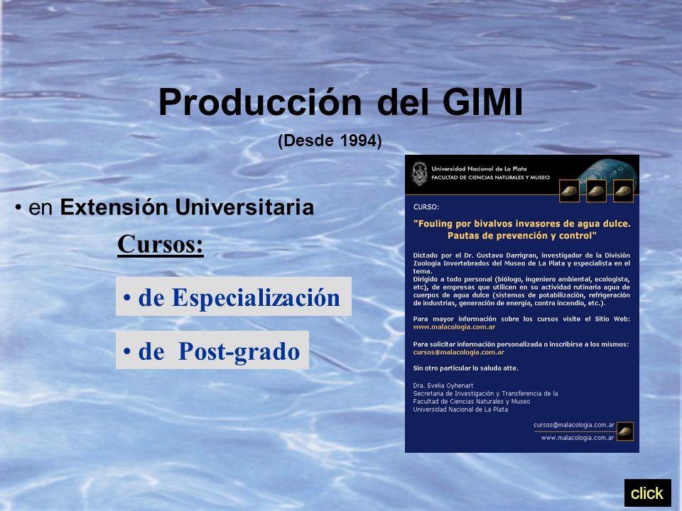 Producción del GIMI (Desde 1994) en Extensión Universitaria Cursos: de Especialización de Post-grado click