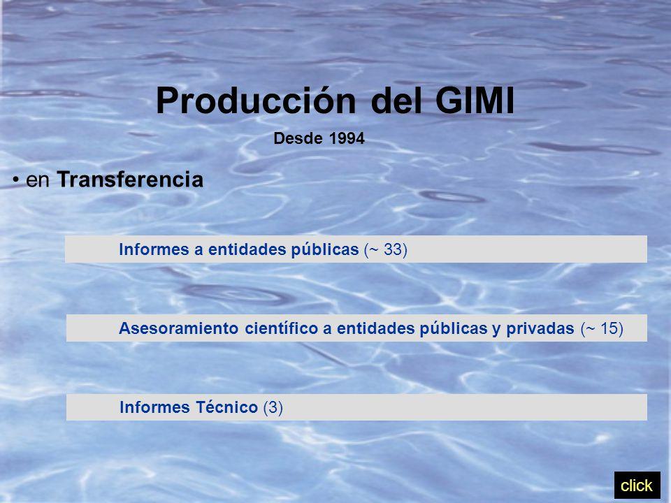 Producción del GIMI Desde 1994 en Transferencia Informes a entidades públicas (~ 33) Asesoramiento científico a entidades públicas y privadas (~ 15) Informes Técnico (3) click