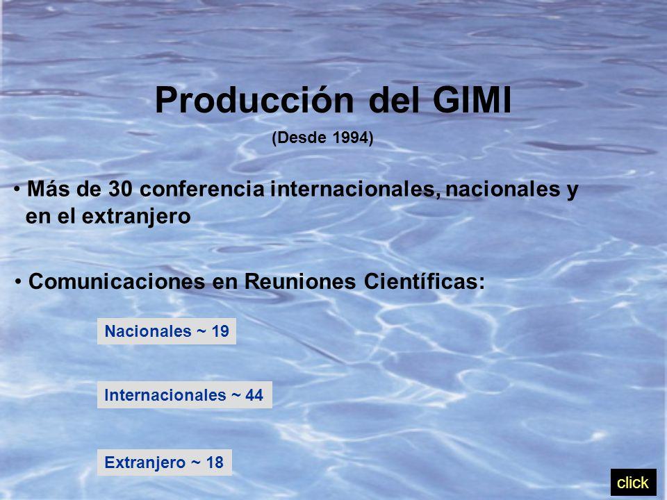 Producción del GIMI (Desde 1994) Más de 30 conferencia internacionales, nacionales y en el extranjero Comunicaciones en Reuniones Científicas: Nacionales ~ 19 Internacionales ~ 44 Extranjero ~ 18 click