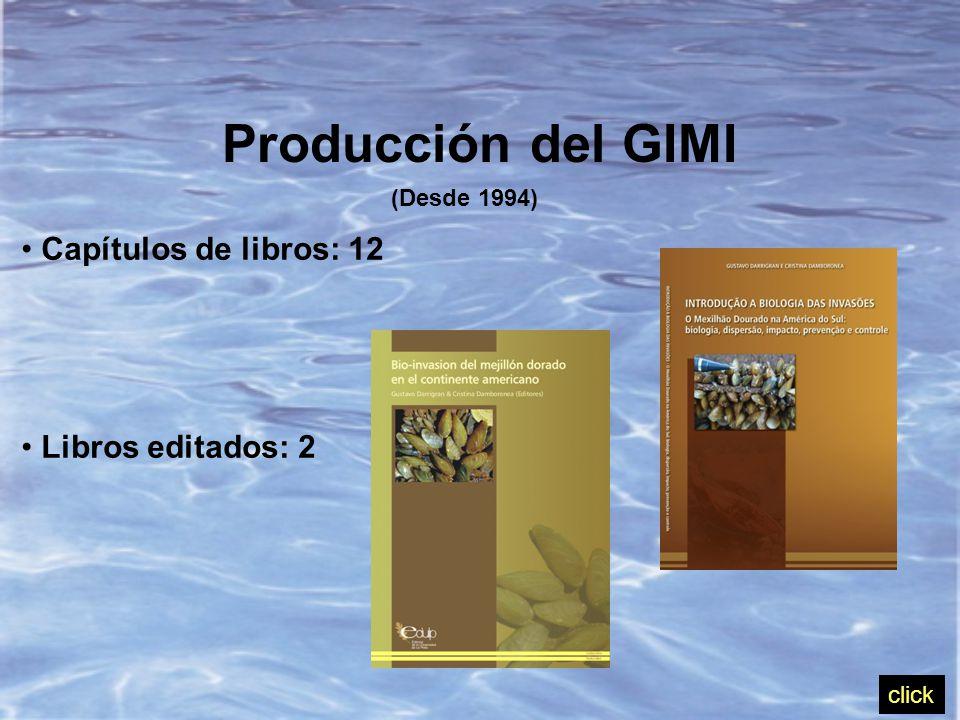 Producción del GIMI (Desde 1994) Capítulos de libros: 12 Libros editados: 2 click