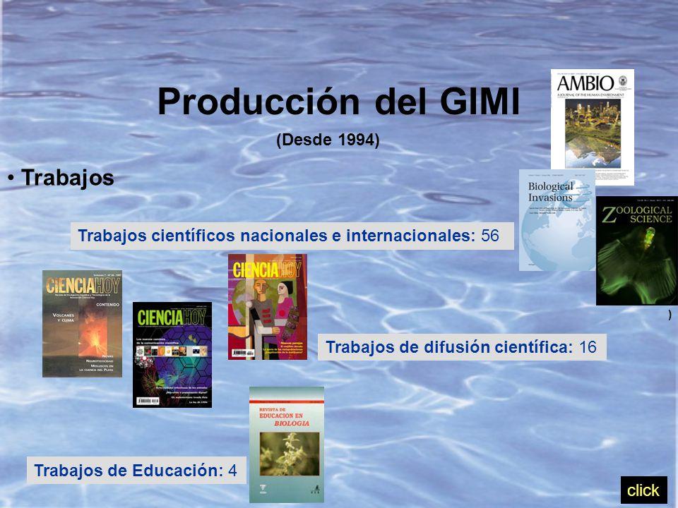 Producción del GIMI (Desde 1994) Trabajos Trabajos científicos nacionales e internacionales: 56 Trabajos de difusión científica: 16 Trabajos de Educación: 4 ) click