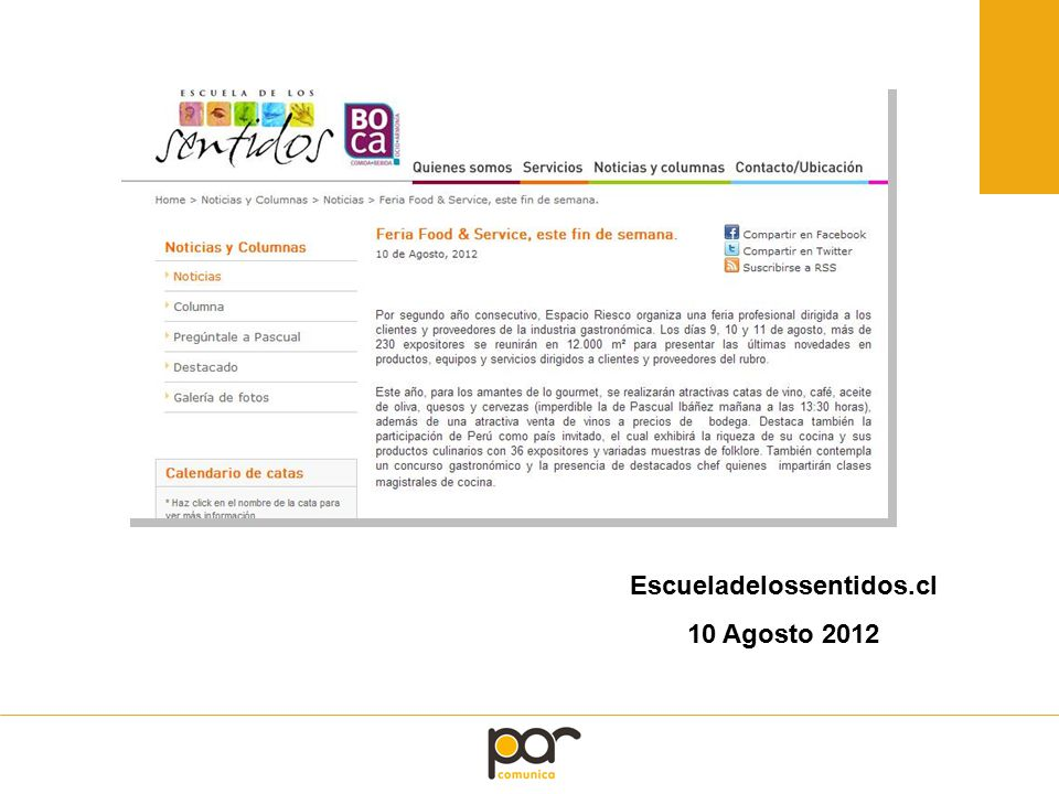 Escueladelossentidos.cl 10 Agosto 2012