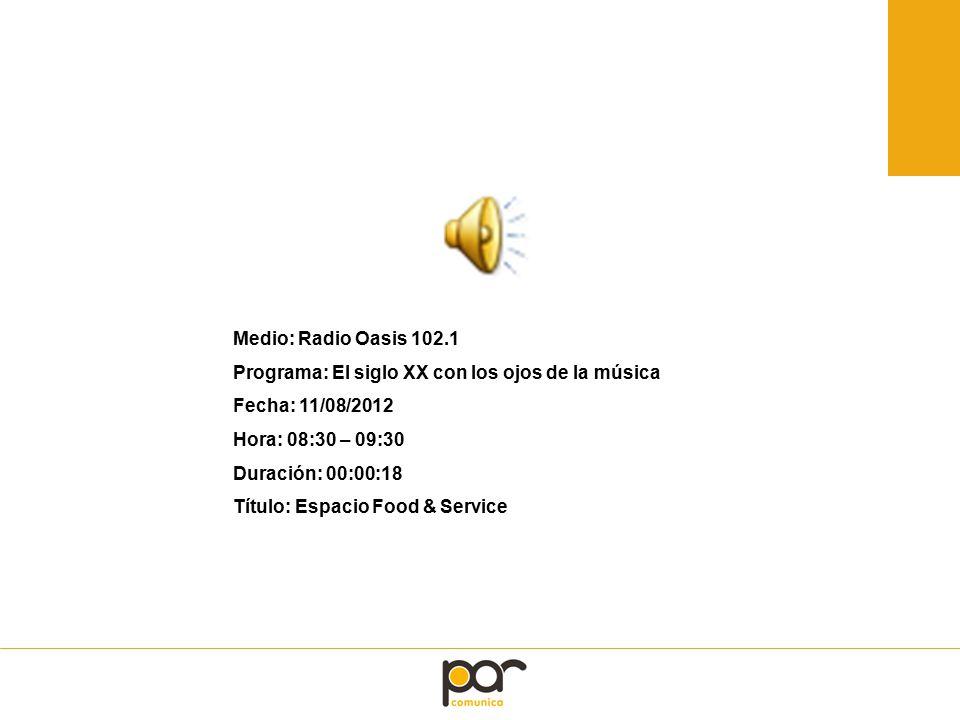 Medio: Radio Oasis 102.1 Programa: El siglo XX con los ojos de la música Fecha: 11/08/2012 Hora: 08:30 – 09:30 Duración: 00:00:18 Título: Espacio Food & Service