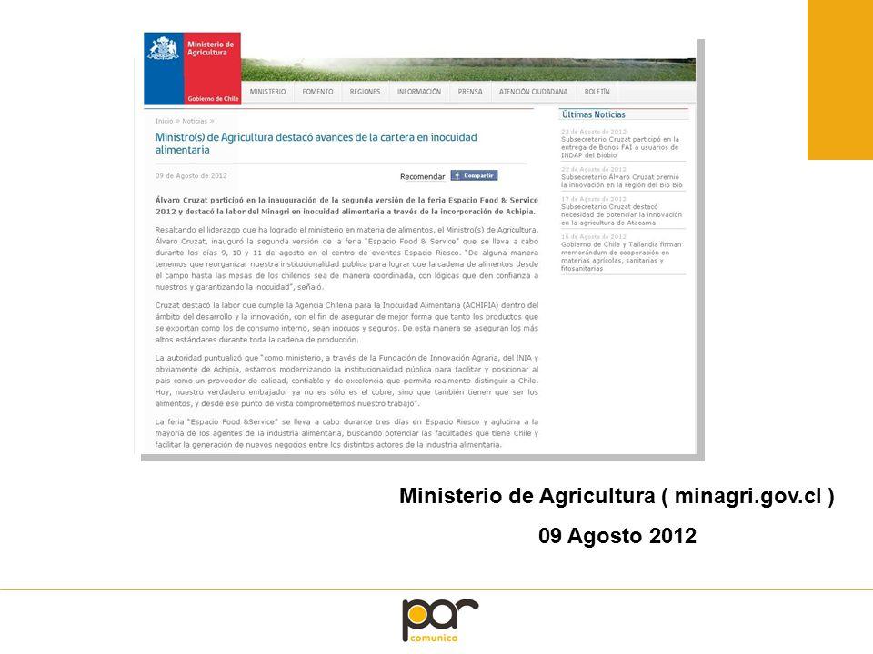 Ministerio de Agricultura ( minagri.gov.cl ) 09 Agosto 2012