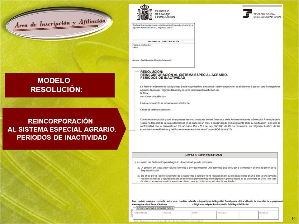 Á rea de I nscripción y A filiación 10 MODELO RESOLUCIÓN: REINCORPORACIÓN AL SISTEMA ESPECIAL AGRARIO.