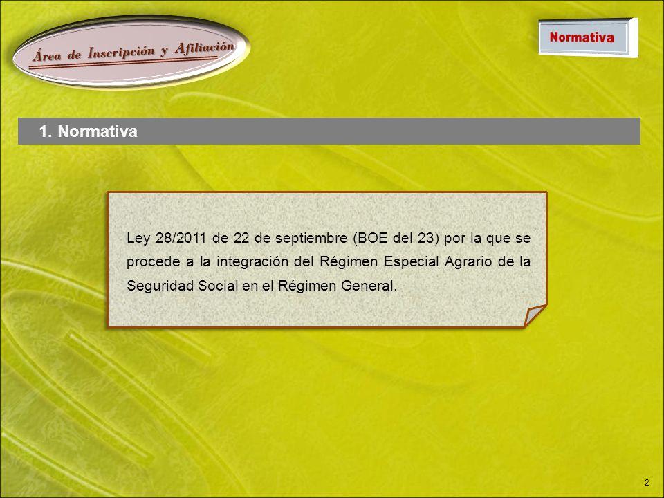 Á rea de I nscripción y A filiación 2 Ley 28/2011 de 22 de septiembre (BOE del 23) por la que se procede a la integración del Régimen Especial Agrario de la Seguridad Social en el Régimen General.