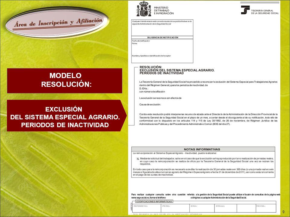 Á rea de I nscripción y A filiación 9 MODELO RESOLUCIÓN: EXCLUSIÓN DEL SISTEMA ESPECIAL AGRARIO.