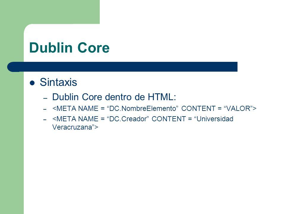 Dublin Core Sintaxis – Dublin Core dentro de HTML: –