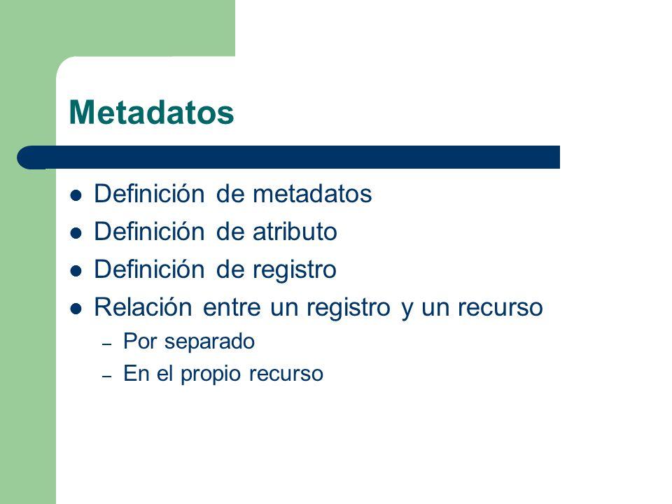 Metadatos Definición de metadatos Definición de atributo Definición de registro Relación entre un registro y un recurso – Por separado – En el propio recurso