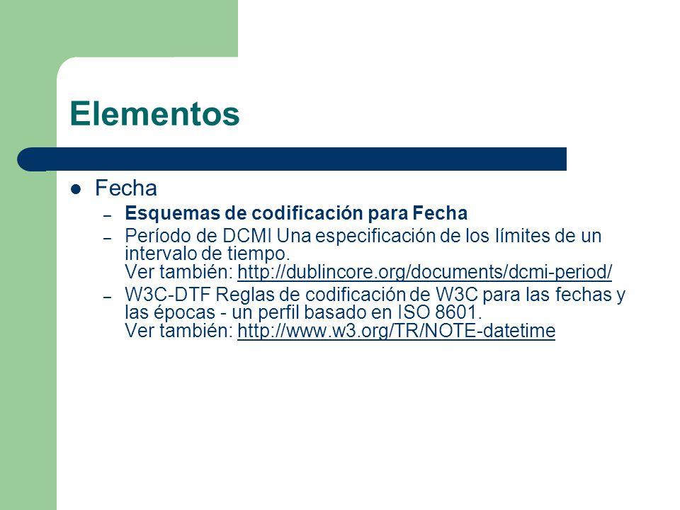 Elementos Fecha – Esquemas de codificación para Fecha – Período de DCMI Una especificación de los límites de un intervalo de tiempo.