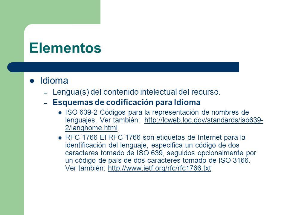 Elementos Idioma – Lengua(s) del contenido intelectual del recurso.