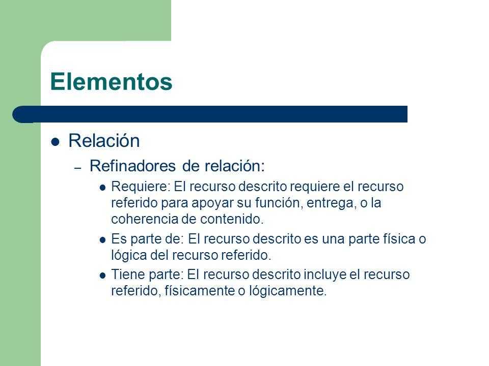 Elementos Relación – Refinadores de relación: Requiere: El recurso descrito requiere el recurso referido para apoyar su función, entrega, o la coherencia de contenido.