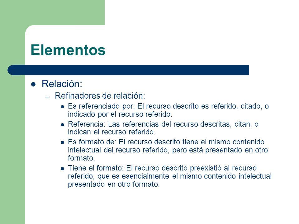 Elementos Relación: – Refinadores de relación: Es referenciado por: El recurso descrito es referido, citado, o indicado por el recurso referido.