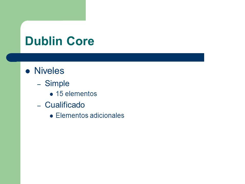 Dublin Core Niveles – Simple 15 elementos – Cualificado Elementos adicionales