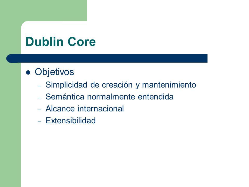 Dublin Core Objetivos – Simplicidad de creación y mantenimiento – Semántica normalmente entendida – Alcance internacional – Extensibilidad
