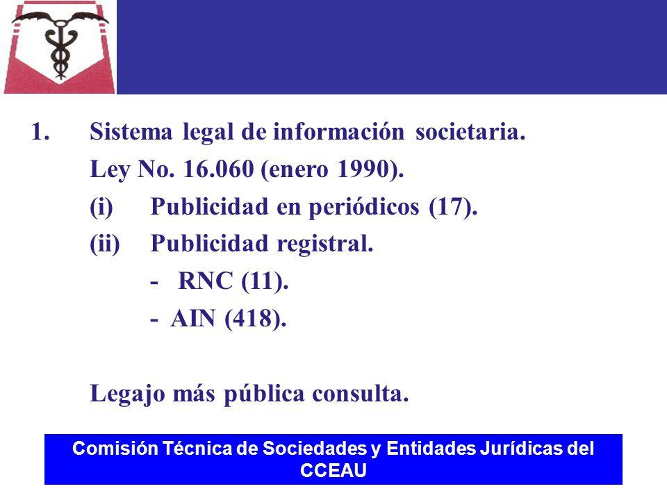 Comisión Técnica de Sociedades y Entidades Jurídicas del CCEAU 1.Sistema legal de información societaria.