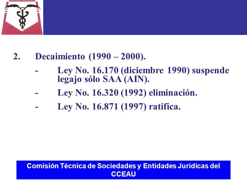 Comisión Técnica de Sociedades y Entidades Jurídicas del CCEAU 2.Decaimiento (1990 – 2000).