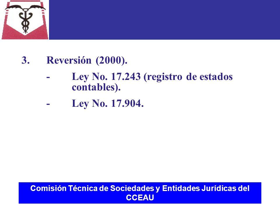 Comisión Técnica de Sociedades y Entidades Jurídicas del CCEAU 3.Reversión (2000).
