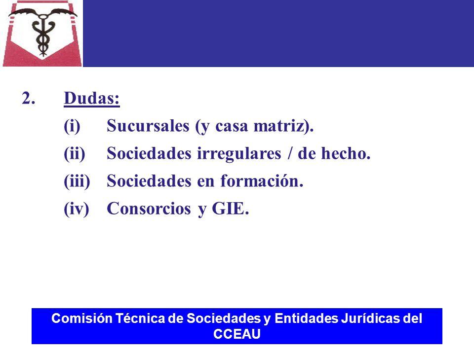 Comisión Técnica de Sociedades y Entidades Jurídicas del CCEAU 2.Dudas: (i)Sucursales (y casa matriz).