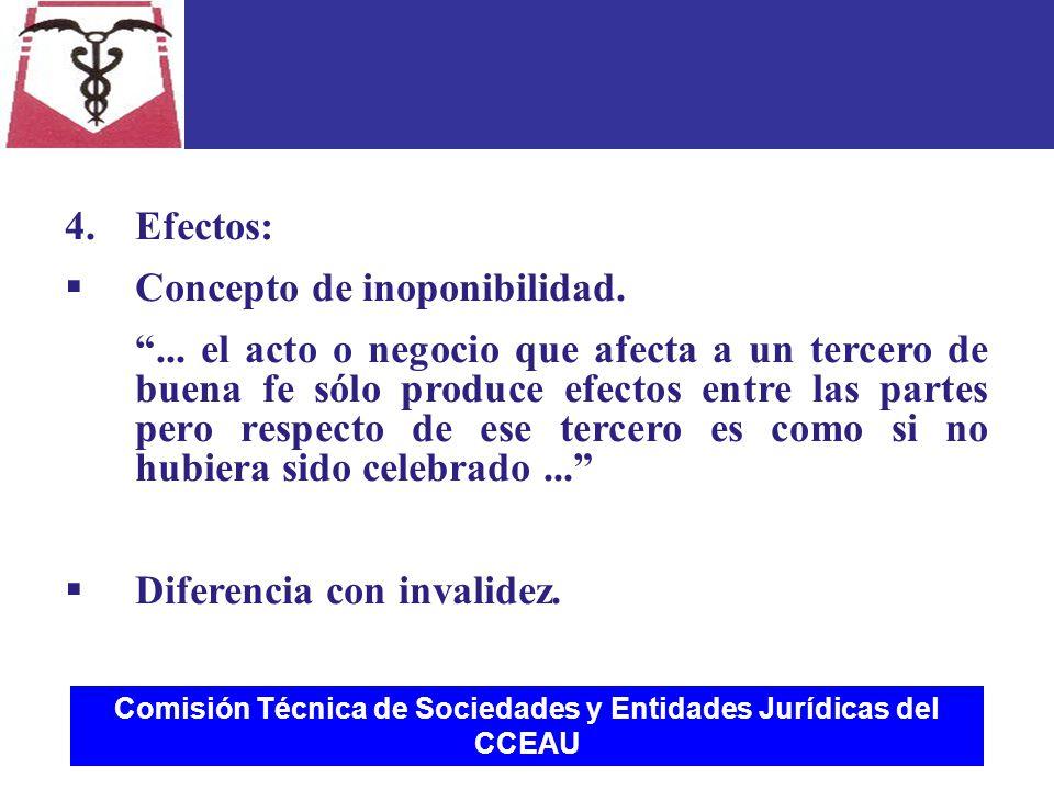 Comisión Técnica de Sociedades y Entidades Jurídicas del CCEAU 4.Efectos:  Concepto de inoponibilidad.