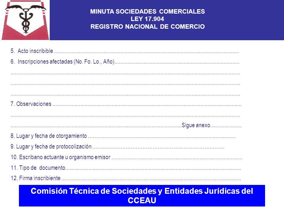Comisión Técnica de Sociedades y Entidades Jurídicas del CCEAU 5.