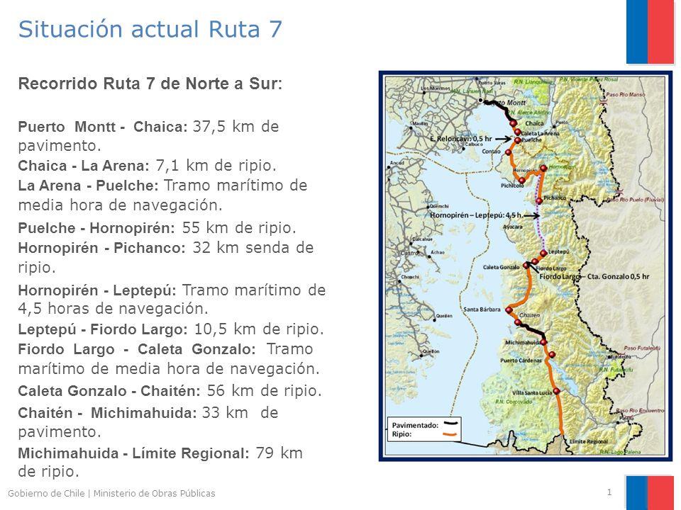 Situación actual Ruta 7 Recorrido Ruta 7 de Norte a Sur: Puerto Montt - Chaica: 37,5 km de pavimento.
