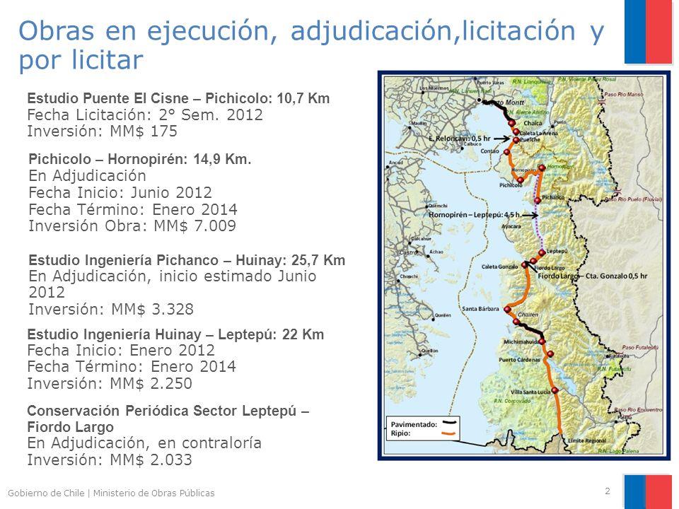 Obras en ejecución, adjudicación,licitación y por licitar Gobierno de Chile | Ministerio de Obras Públicas 2 Estudio Puente El Cisne – Pichicolo: 10,7 Km Fecha Licitación: 2° Sem.