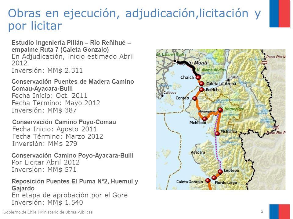 Gobierno de Chile | Ministerio de Obras Públicas 2 Estudio Ingeniería Pillán – Río Reñihué – empalme Ruta 7 (Caleta Gonzalo) En Adjudicación, inicio estimado Abril 2012 Inversión: MM$ 2.311 Conservación Puentes de Madera Camino Comau-Ayacara-Buill Fecha Inicio: Oct.