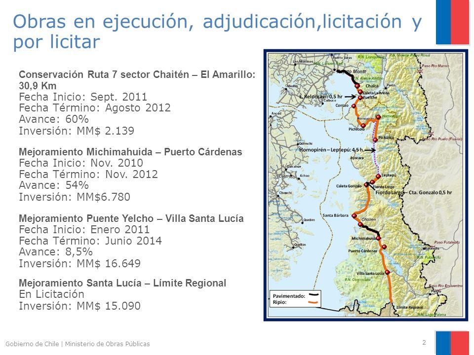 Gobierno de Chile | Ministerio de Obras Públicas 2 Mejoramiento Michimahuida – Puerto Cárdenas Fecha Inicio: Nov.