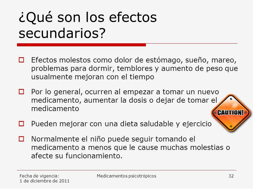 Fecha de vigencia: 1 de diciembre de 2011 Medicamentos psicotrópicos32 ¿Qué son los efectos secundarios.
