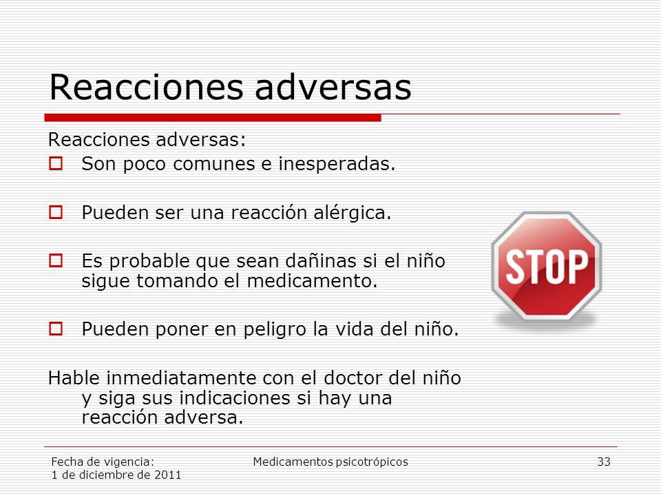 Fecha de vigencia: 1 de diciembre de 2011 Medicamentos psicotrópicos33 Reacciones adversas Reacciones adversas:  Son poco comunes e inesperadas.