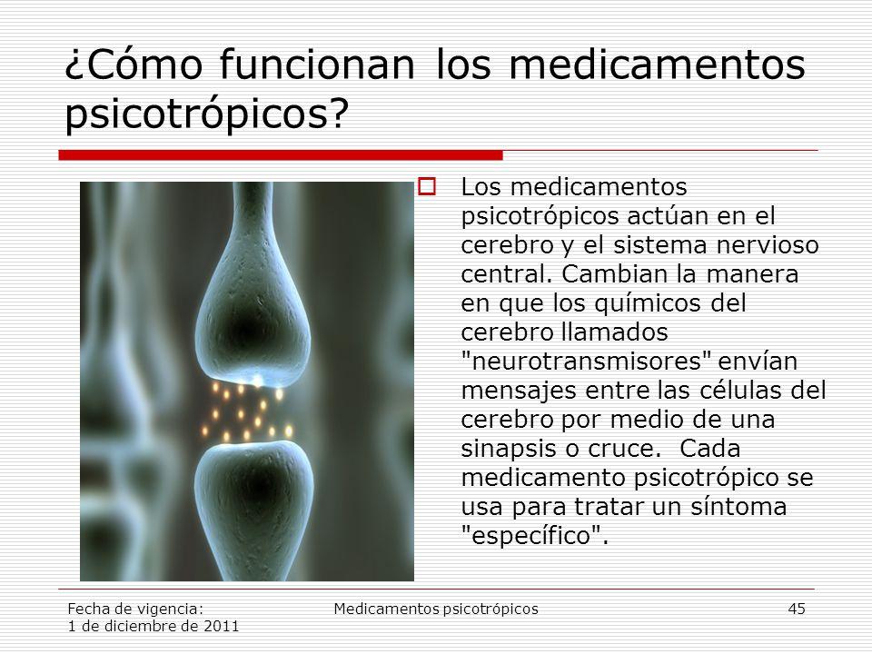 Fecha de vigencia: 1 de diciembre de 2011 Medicamentos psicotrópicos45  Los medicamentos psicotrópicos actúan en el cerebro y el sistema nervioso central.