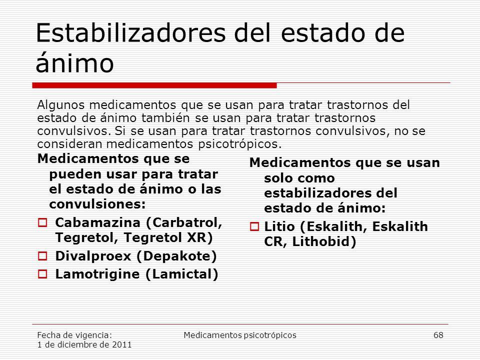 Fecha de vigencia: 1 de diciembre de 2011 Medicamentos psicotrópicos68 Estabilizadores del estado de ánimo Medicamentos que se pueden usar para tratar el estado de ánimo o las convulsiones:  Cabamazina (Carbatrol, Tegretol, Tegretol XR)  Divalproex (Depakote)  Lamotrigine (Lamictal) Medicamentos que se usan solo como estabilizadores del estado de ánimo:  Litio (Eskalith, Eskalith CR, Lithobid) Algunos medicamentos que se usan para tratar trastornos del estado de ánimo también se usan para tratar trastornos convulsivos.