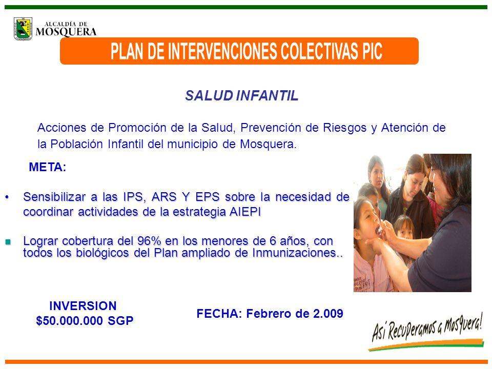 SALUD INFANTIL Acciones de Promoción de la Salud, Prevención de Riesgos y Atención de la Población Infantil del municipio de Mosquera.