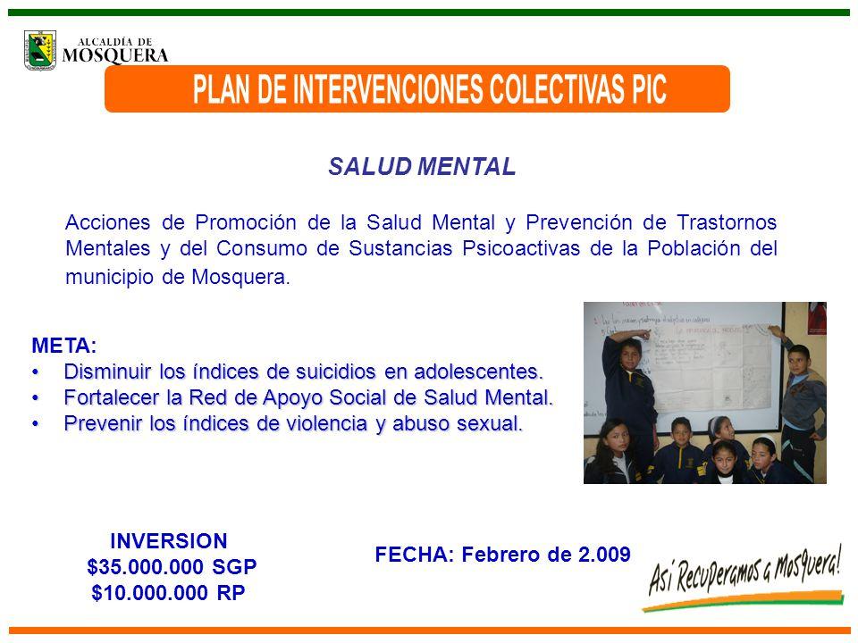 SALUD MENTAL Acciones de Promoción de la Salud Mental y Prevención de Trastornos Mentales y del Consumo de Sustancias Psicoactivas de la Población del municipio de Mosquera.