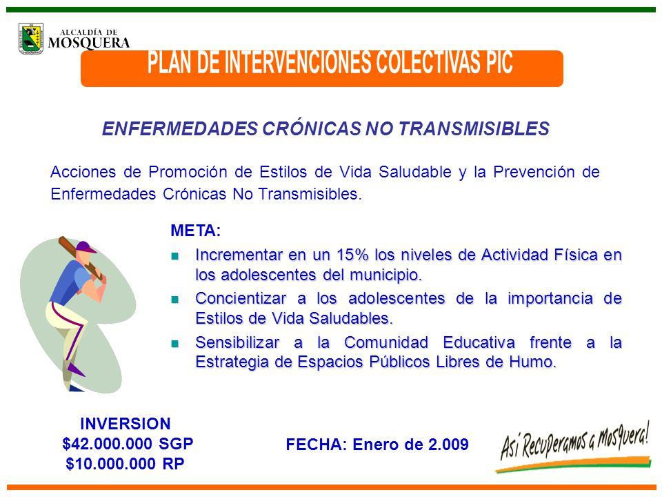 ENFERMEDADES CRÓNICAS NO TRANSMISIBLES Acciones de Promoción de Estilos de Vida Saludable y la Prevención de Enfermedades Crónicas No Transmisibles.